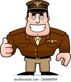 An illustration of a cartoon military captain giving a thumbs up sign.
