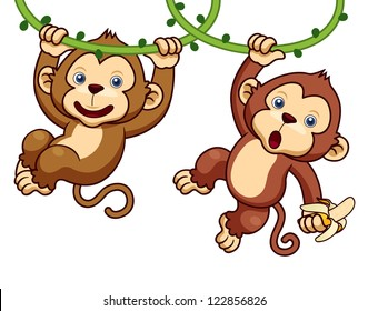 Illustration of Cartoon Monkeys