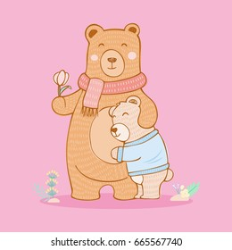 Illustration of cartoon mother bear and son, vector