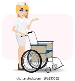 illustration of cartoon nurse with wheelchair in healthcare concept