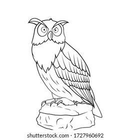 illustration of Cartoon owl sitting on the stone - Coloring book