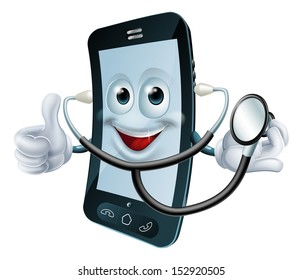 Illustration of a cartoon phone character holding a stethoscope