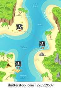 Illustration of a cartoon pirate island and treasure marks a Jolly Rodger flag. Great for game adventure.