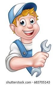 An illustration of a cartoon plumber or mechanic holding a spanner