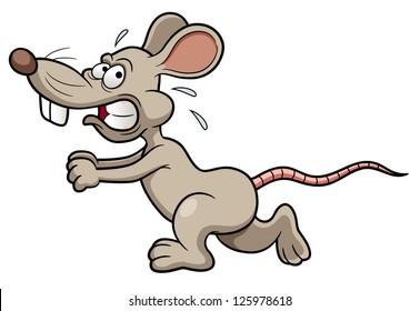 illustration of Cartoon rat running
