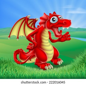 An illustration of a cartoon red dragon in a green landscape of rolling hills