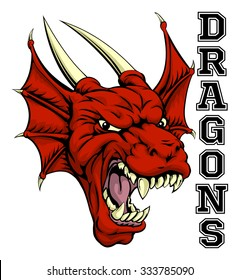 An illustration of a cartoon red dragon sports team mascot with the text Dragons