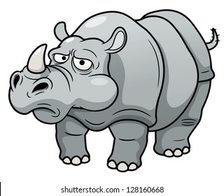 illustration of Cartoon rhino