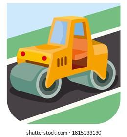 illustration of cartoon road roller at construction site, vector illustration, eps