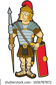 Illustration cartoon roman legionary soldier with a shield, a gladius, and a lance