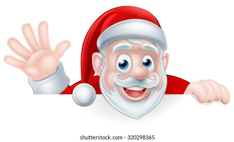 An illustration of a cartoon Santa claus waving while peeking over a sign