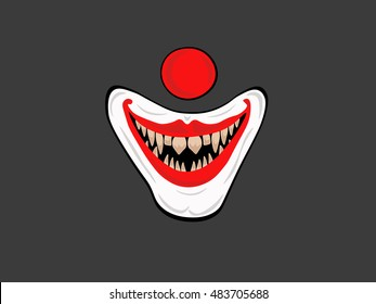 Illustration of cartoon scary clown. Vector illustration.