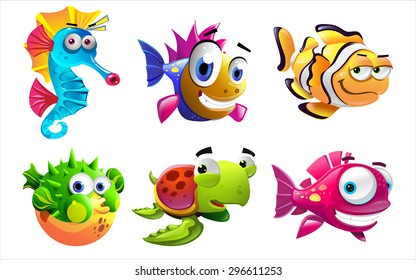 Illustration of the cartoon sea creatures on a white background