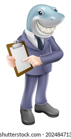 An illustration of a cartoon shark business man holding a clipboard or contract and smiling. Concept for unscrupulous, dishonest or dangerous business person.