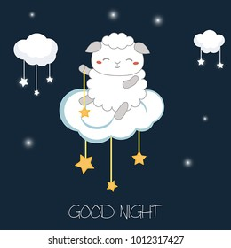 Illustration with cartoon sheep sitting on the cloud. Good night card.