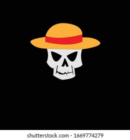 illustration of cartoon skull with a straw hat