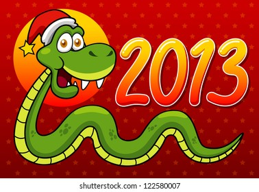 illustration of Cartoon snake - 2013 year