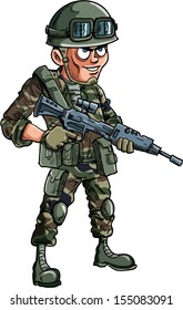 Illustration of cartoon soldier with a rifle Isolated