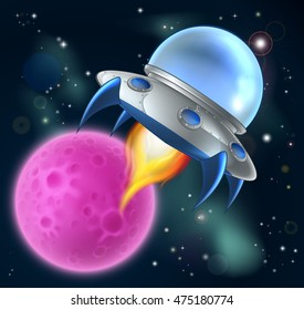 An illustration of a cartoon space ship flying saucer flying through space with a moon or planet in the background