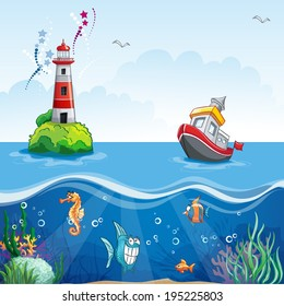 illustration in cartoon style of a ship at sea and fun fish