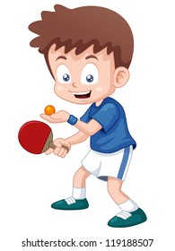 illustration of cartoon table tennis player
