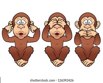 illustration of cartoon Three monkeys - see, hear, speak no evil
