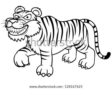 Illustration Cartoon Tiger Coloring Book Stock Vector Royalty Free