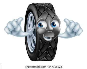 An illustration of a cartoon tire (tyre) character or mascot giving a thumbs up