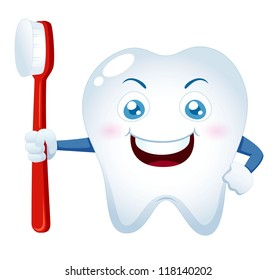 illustration of Cartoon tooth holding a toothbrush