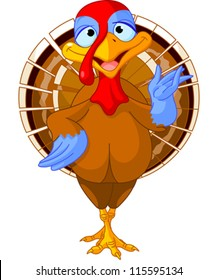 Illustration of a cartoon turkey