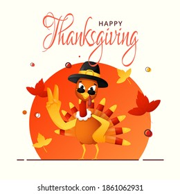 Illustration of Cartoon Turkey Bird Wearing Pilgrim Hat with Goggles in Rocking Pose and Autumn Leaves on Orange and White Background for Happy Thanksgiving Day.