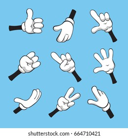 Illustration of cartoon various hands with different gestures