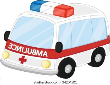 Illustration of  a cartoon vehicle on white