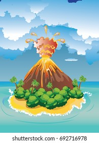 Illustration of cartoon volcano eruption with hot lava.