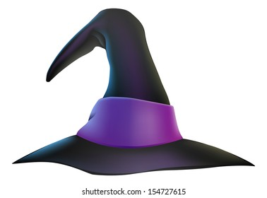 An illustration of a cartoon witch's hat with purple ribbon