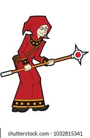 Illustration cartoon wizard man with a magic staff