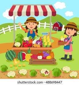 illustration cartoon woman sells fresh vegetables and fruits homemade products vector