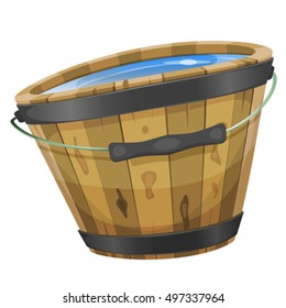 Illustration of a cartoon wooden bucket with water inside, handle and iron strapping