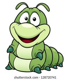 illustration of Cartoon worm.vector