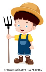 illustration of Cartoon young farmer