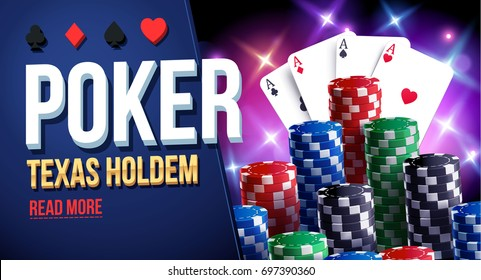 illustration of casino chips, cards and place for text poker club texas holdem