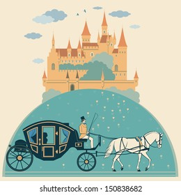 Illustration of the castle, horse, carriage and coachman