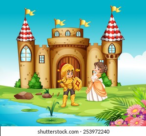 Illustration of a castle and a knight