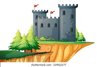 Illustration of a castle on a clift