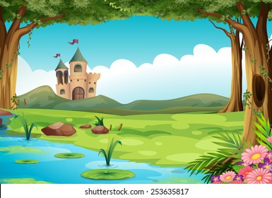 Illustration of a castle and a pond