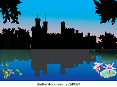 illustration with castle and its reflection