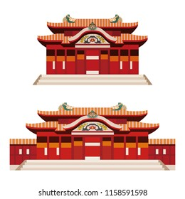 Illustration of castle (Shuri castle) in Okinawa, Japan on white background