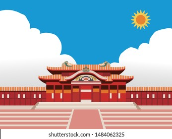 Illustration of castle (Shuri castle) in Okinawa, Japan with blue sky