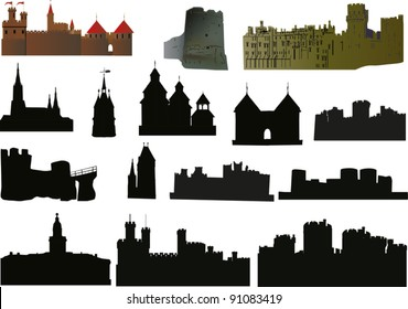 illustration with castles and towers collection