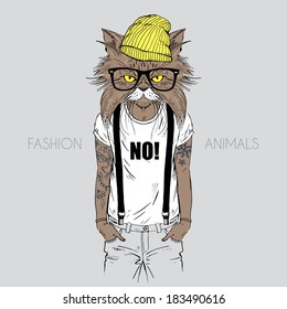 Illustration of cat dressed up in t-shirt with quote